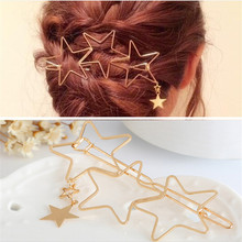 1 pc  Women golden Star Hair Clip Snap Hair Barrette Stick H