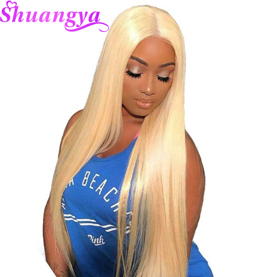 Shuangya 613 Blonde Remy Hair Brazilian Straight 13 4 Lace Front Human Hair Wigs Pre Plucked
