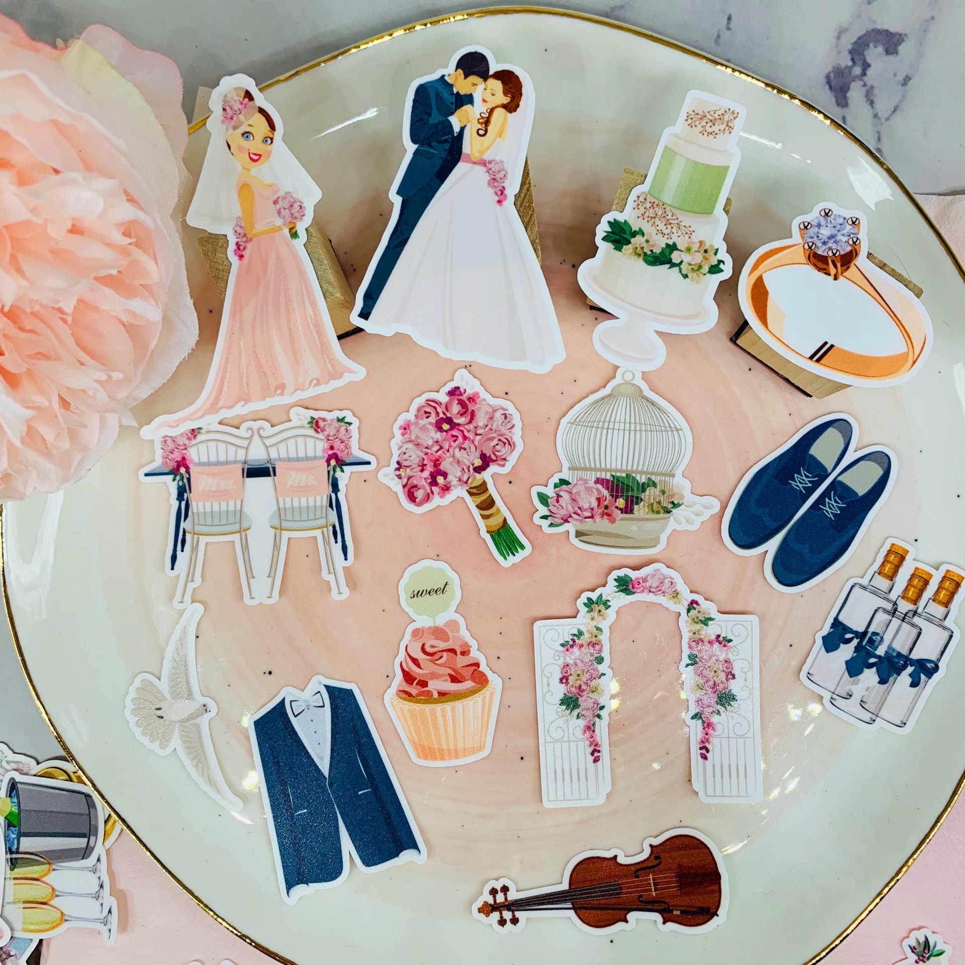 28 Pcs Lucu Pesta Pernikahan Pola Kertas Stiker untuk Anak-anak Buatan Sendiri Buku Stiker Pada Laptop/Dekoratif Scrapbooking/DIY