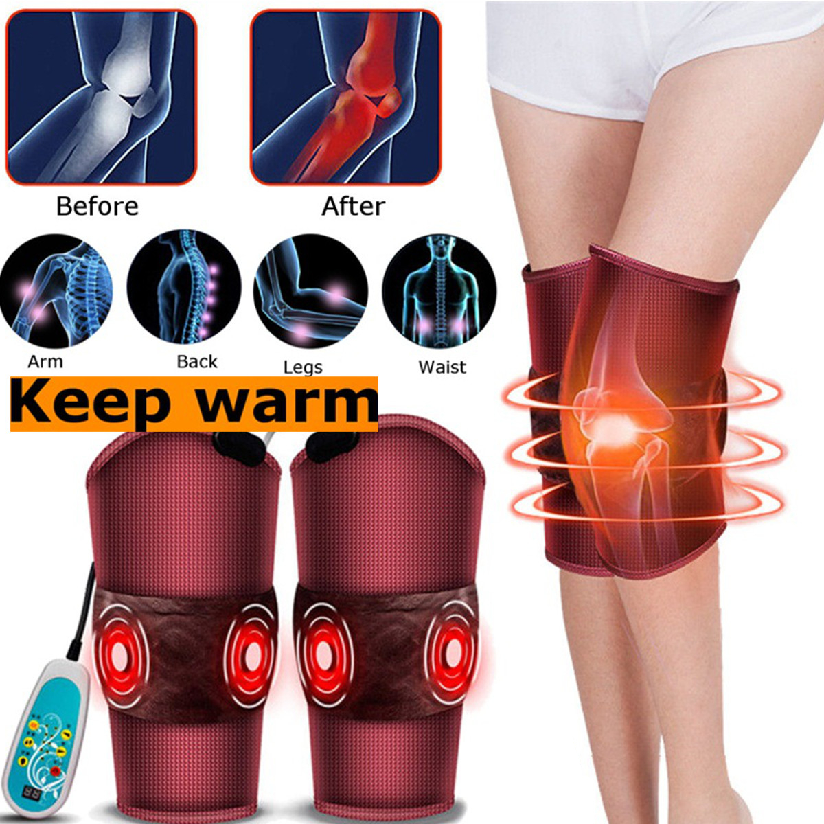 Health Care Massage & Relaxation Electric Knee Leg Massager Pad Heating Vibrating Physical Therapy Arm Waist Massage For Arthritis Rheumatism Relieve Health Care
