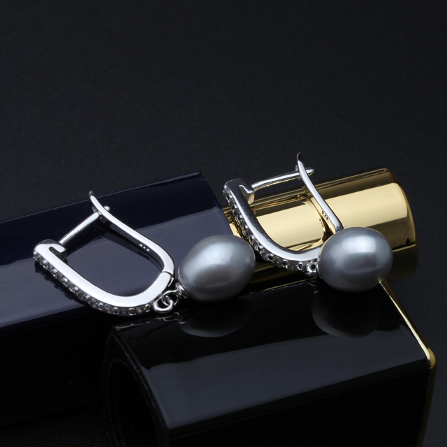 Real natural black pearl earrings for women,beautiful 925 silver freshwater party earrings with pearls