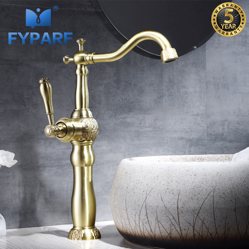 FYPARF Tall Bathroom Gold Faucet Single Handle 360 Rotating Long Spout Faucet Brass Hot and Cold Water Tap Bath Basin Faucets цена 2017