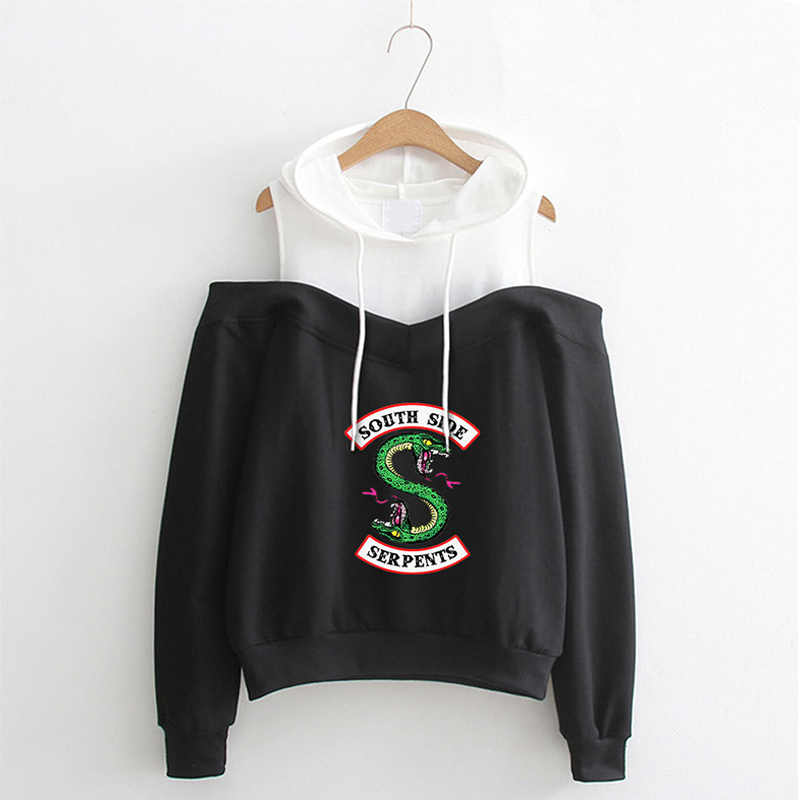 Riverdale Hoodie Cosplay Costume South Side Serpents Strapless Sweatshirt Girls Women Pullover Pink/Gray/Black
