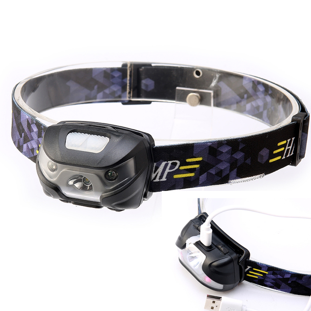 New Sensory Headlamp 2000 Lumens Headlight Head Torch Head Lamp Fishing lights With USB Cable
