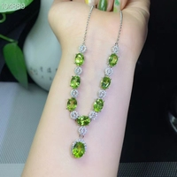 Natural green peridot Necklace Natural olivine Pendant Necklace 925 sliver trendy Luxurious round geometry women party Jewelry