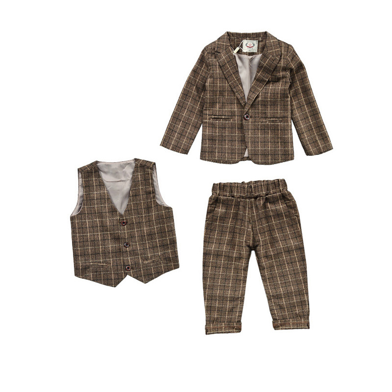 Childrens Wear 2018 BoysSpring and Autumn Childrens Small Suit Majiahua Childrens Dress Three-piece SuitChildrens Wear 2018 BoysSpring and Autumn Childrens Small Suit Majiahua Childrens Dress Three-piece Suit