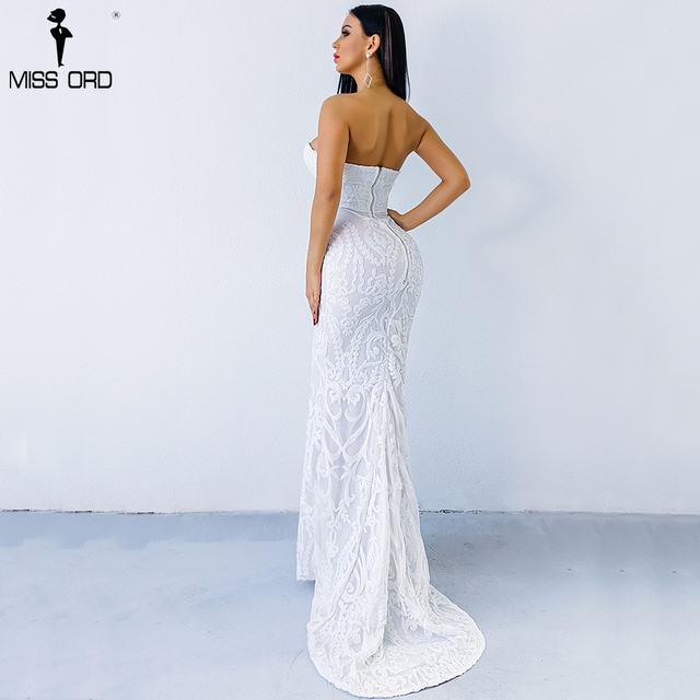 Missord 2019 Sexy New Bra Off Shoulder Retro Geometry Sequin Female  Dresses  Floor Length Party Elegant  Dress FT8888-1 2