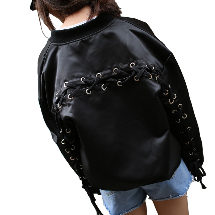 Autumn Womens Flight Jacket Coat Harajuku Hip Hop Female Bomber Jackets Stand Collar Design ...