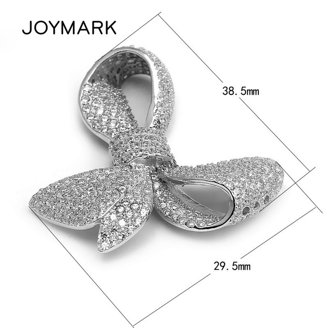 JOYMARK High Quality Jewelry Accessory 925 Sterling Silver Zircon Micro Pave Bowknot Charm Connectors Pendant SLJQ-CZ014