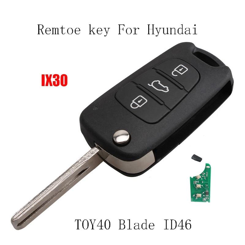 3 Buttons 433Mhz Remote Car key For Hyundai IX30 I20 I30 2008 2009 2010 2011 2012 Transponder Chip ID46 TOY40 Balde Original key|Car Key| |  - title=
