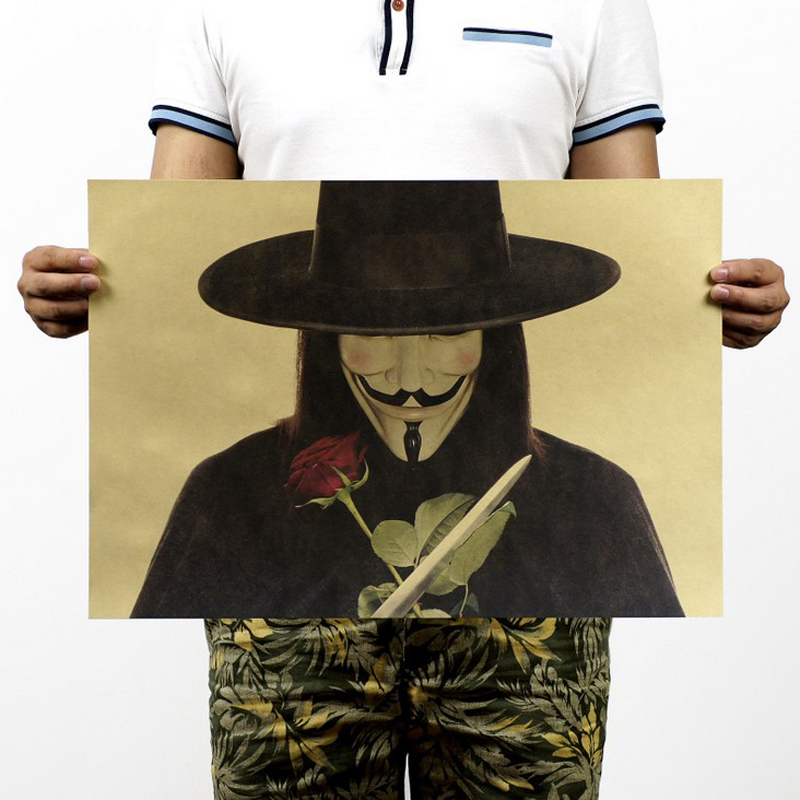 Free shipping,V for Vendetta/style b Portmans classic movie/kraft paper/bar poster/Retro Poster/decorative painting 51x35.5cm