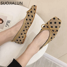 SUOJIALUN 2019 New Spring Women Flats Slip On Ballet Flat Shoes Breathable Knitted Square Toe Soft Moccasins Ballerina