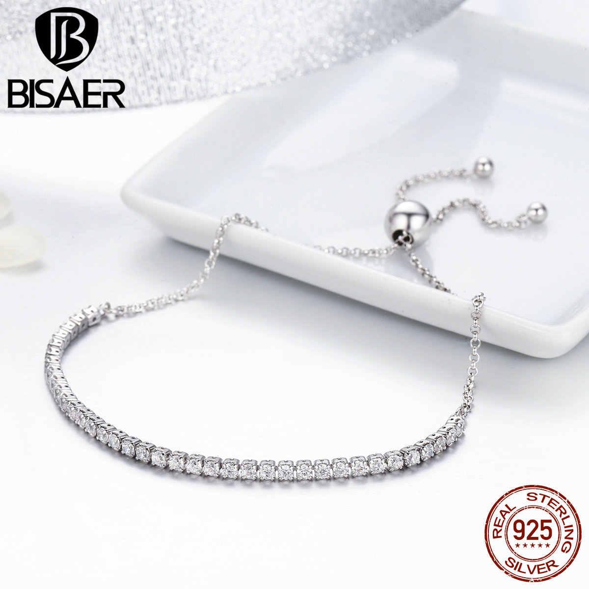 Slider Armband 925 Sterling Zilver Duidelijk Cz Lace-Up Verstelbare Tennis Strand Armbanden Voor Vrouwen Zilveren Armband Sieraden Gift