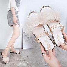 Summer Slippers Women Sliders Fur Indoor & Outdoor Platform Sandals Shoes Slip On Flip Flops Zapatillas Mujer
