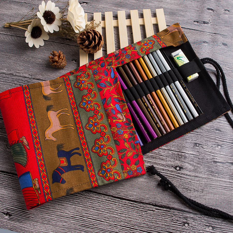 Pencil Wrap 36/48/72 Holes Red Tree Pencil Case Stationary Roll Pouch Makeup Brush Pen Holder Storage Bag