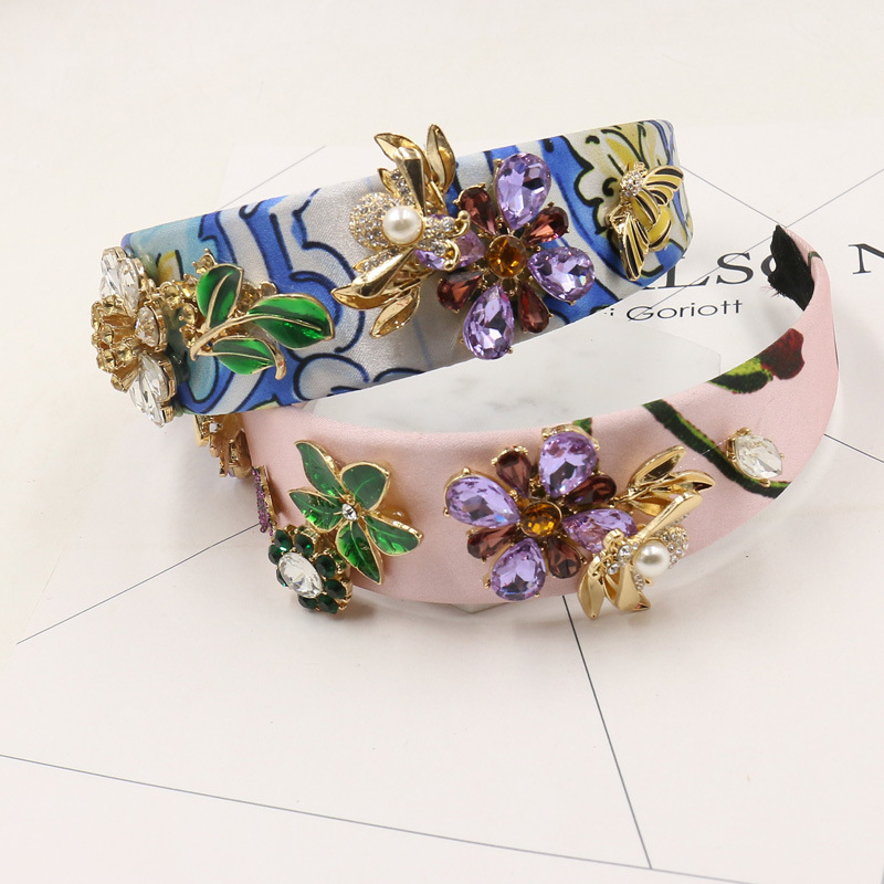 American fashion Baroque hair hoop exaggerated crystal flower hair hoop hairpin crown wedding hair accessories 1247