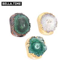 BELLA.TIME Adjustable Natural Stone Druzy Rings For Women Boho Solar Quartz Sun Flower Druzy Gold Silver Copper Base Rings RI36 36x16mm small druzy cabochon