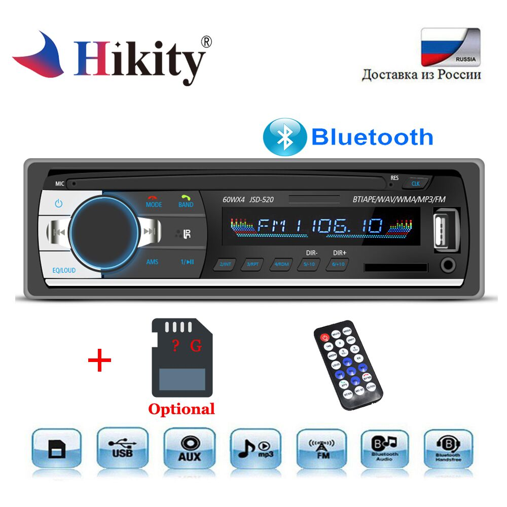 Hikity Car Radio Autoradio 1din Bluetooth Stereo MP3 Player Coche Radios FM Aux Input Receiver SD USB Auto Audio Stereo JSD-520