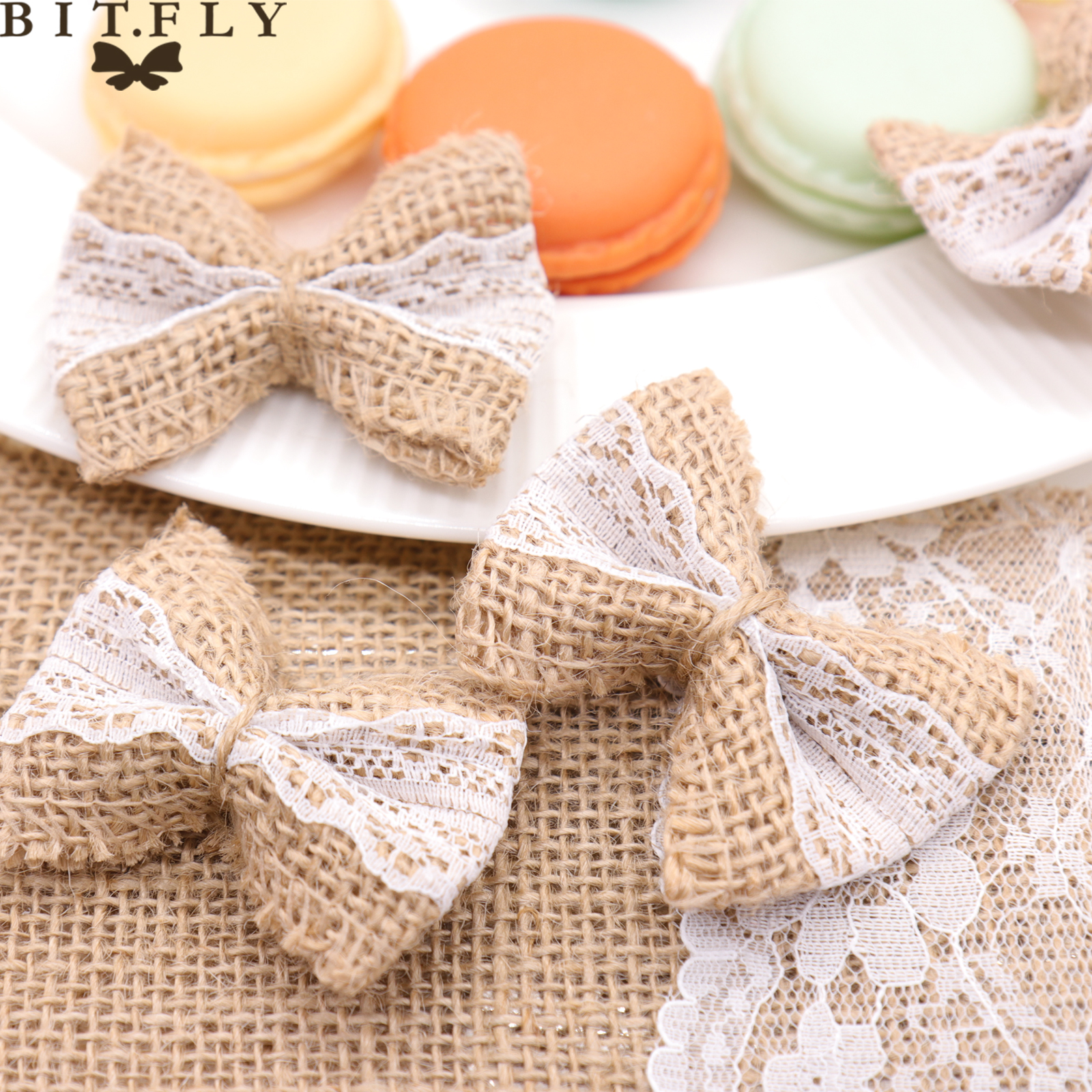 Diy Burlap Wedding Ideas: 10 Pcs Hessian Burlap White Lace Bow Party DIY Decoration