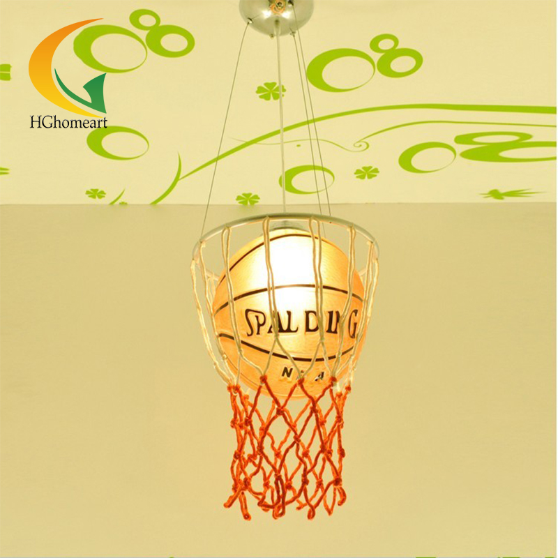 ФОТО kids basketball Creativity Cartoon Chandelier Modern Children's Room Lights Bedroom lamp glass pendant lamps E27