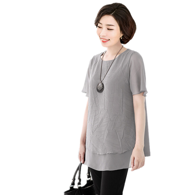Mother Middle Aged Women Big Size 5XL6Xl 7XL Pleated Chiffon Blouse Summer  Short Sleeves Fake 2 piece Plus Size Tops Ladies 774d670b30fe