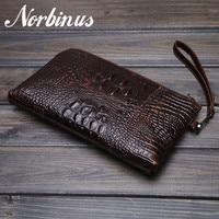 Norbinus Genuine Leather Men Wallets Crocodile Clutch Bag Long Wallets Handbag Money Bag Phone Pocket Purse Card Holder Pouch