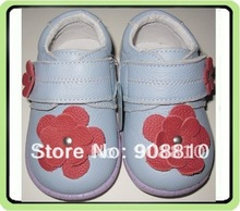 baby soft leather shoes blue with red flowers purple sole velcro strap retail and wholesale