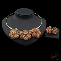 Yulaili Fashion Jewelry High Quality Flower Design Necklace Earrings Two Ladies Jewelry Sets