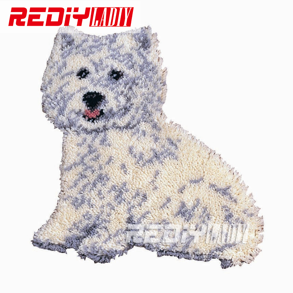 Us 16 19 48 Off Rediy Ladiy Latch Hook Rug Kits White Dog Wall Tapestry Floor Mat Pre Printed Canvas Cushion Yarn Embroidery Unfinished Carpet In