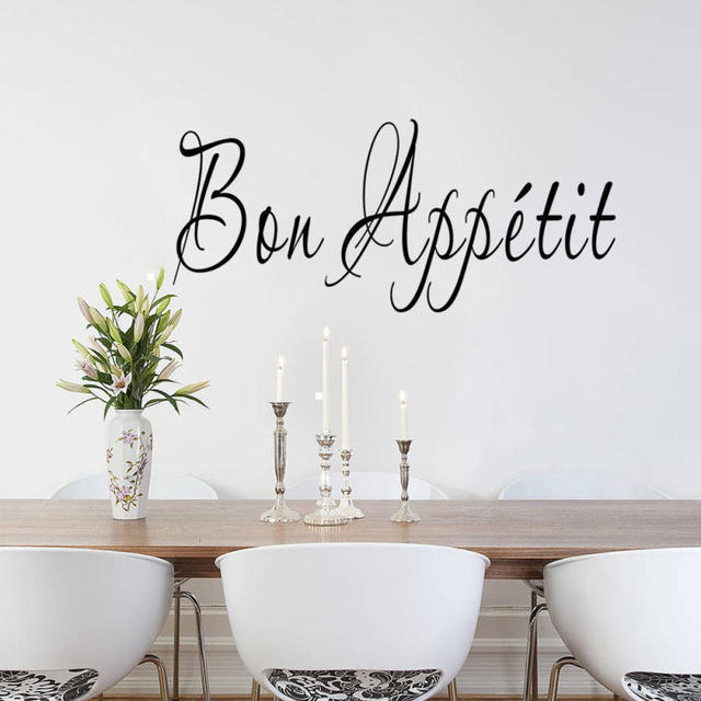 Bon Appetit French Quote Wall Sticker Removable Home Living Room Kitchen  Decor DIY Art Decal Restaurant