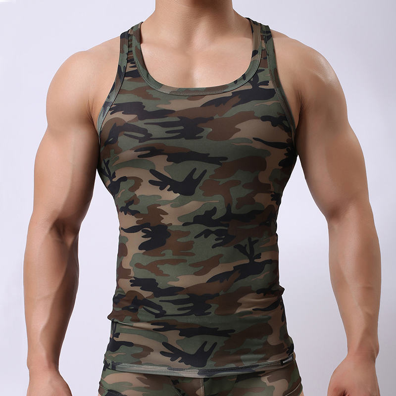 Mens running tank tops army camo camouflage printed for Camouflage t shirt printing