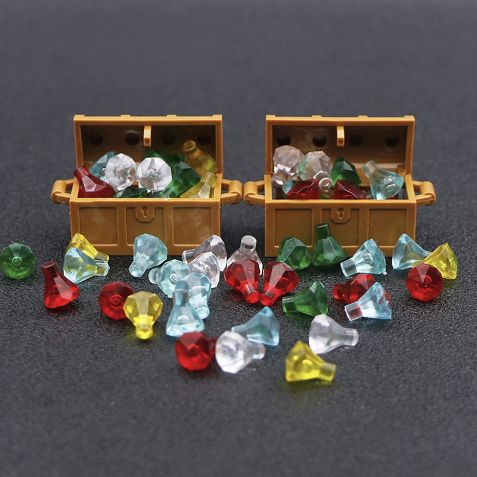 city Accessories Bricks Building Blocks Jewlery Box Gem Precious Stone Caribbean Pirate Figure Treasure Toy compatible with lego