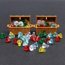 city Accessories Bricks Building Blocks Jewlery Box Gem Precious Stone Caribbean Pirate Figure Treasure Toy compatible with lego