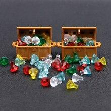 Accesorios de ciudad, bloques de construcción, joyero, GEMA, piedra preciosa, figura de pirata caribeño, juguete del Tesoro, compatible con lego