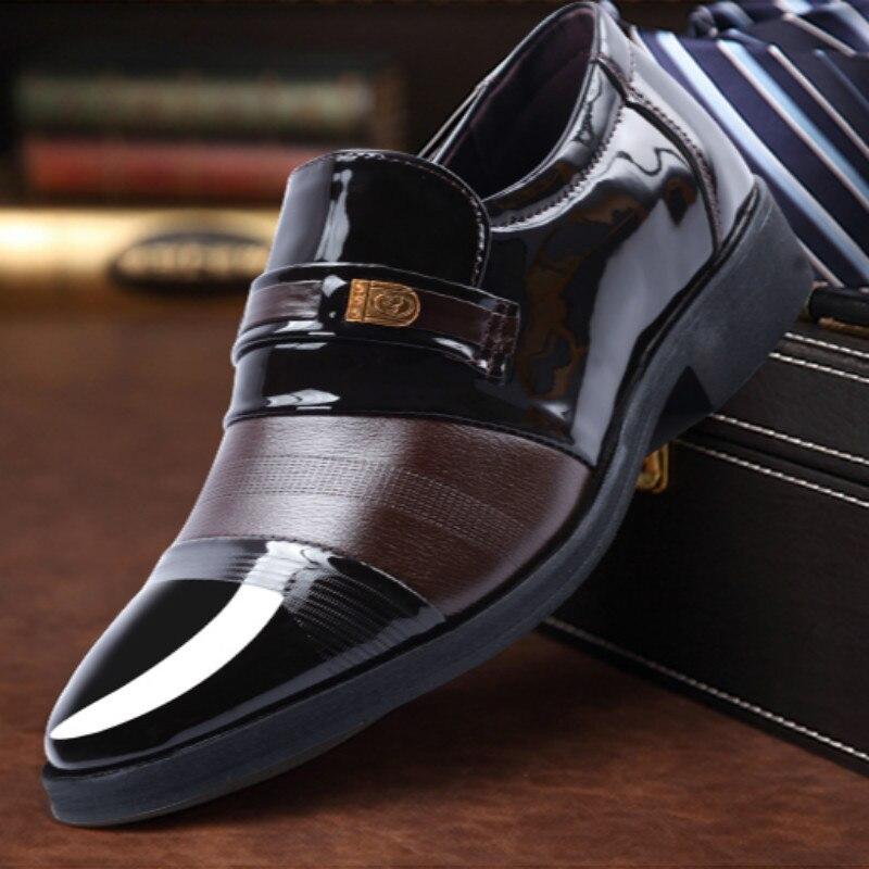 7 2 Qualité Top 6 Pu 8 En Slip 1 Cuir 5 Sur Chaussures Mâle D'affaires 3 Masculino Sapato 4 Sociale Plates Arrivée Nouvelle Hommes Formelle WvyUqwSyAP