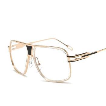 R45 Flat top men glasses frame branded designer big square metal gold frame glasses for men optical high quality lunettes фото