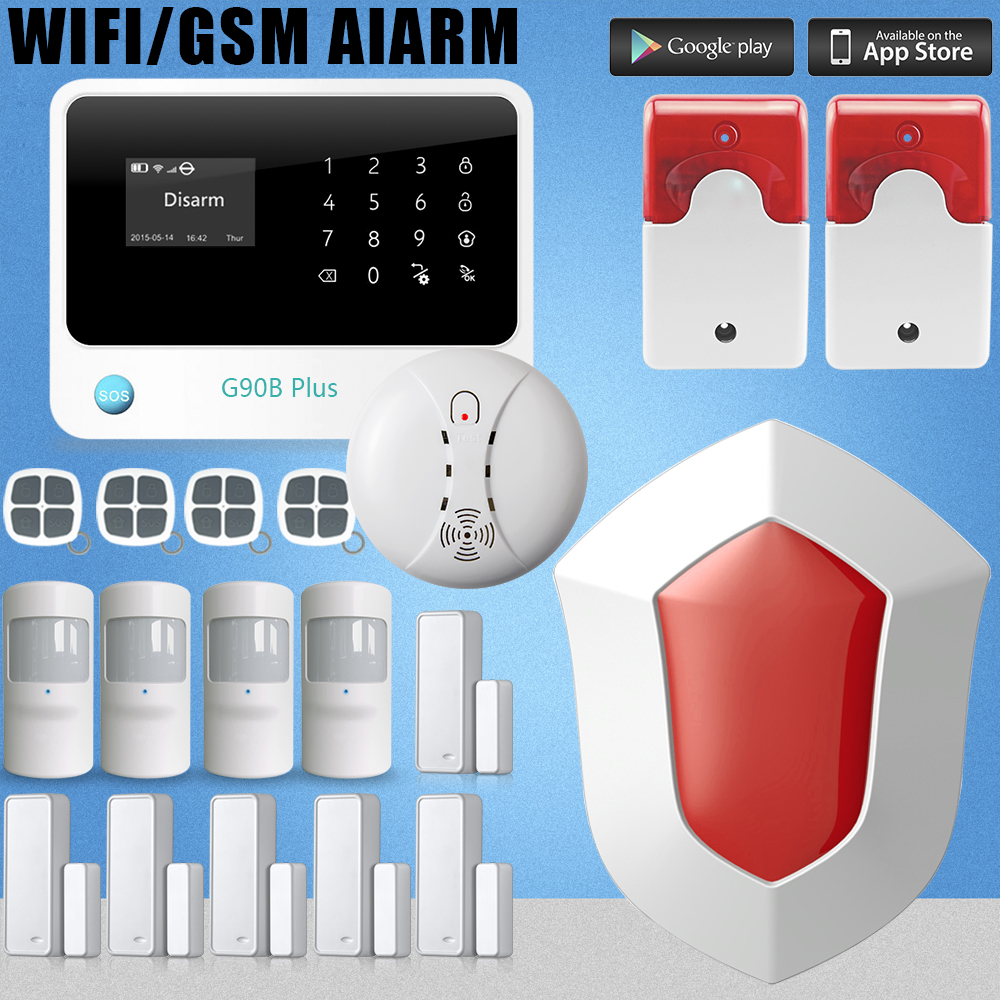 Etiger GSM+WIFI home alarm system free of alarm pushes through WIFI network +outdoor flash siren etiger gsm pstn intruder alarm system for home office wifi network camera ir beam detector 100m