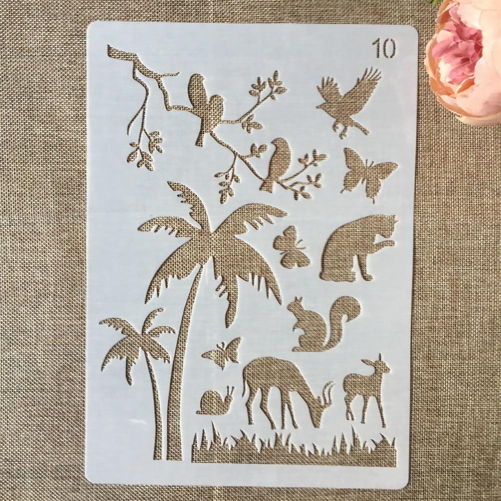 1Pcs 29*21cm Palm Tree Snail Cat Squirrel DIY Layering Stencils Painting Scrapbook Coloring Embossing Album Decorative Template