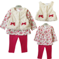 3pcs Baby Girl Sets Faux Fur Vest+Long Sleeve T Shirt+Leopard Pants Leggings Bebe Outfit Autumn Winter Infant Suit Clothing