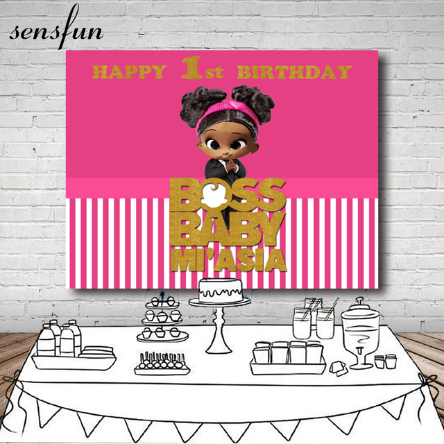 Sensfun Boss Baby Shower 1st Birthday Party Backdrop For Girls White And Hot Pink Striped Backgrounds For Photo Studio 7x5FT