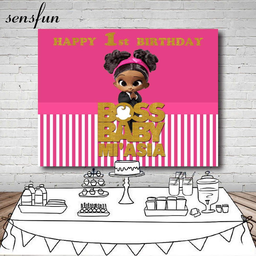 Sensfun Boss Baby Shower 1st Birthday Party Sfondo Per Le Ragazze