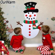 OurWarm New Year Christmas Gift DIY Felt Snowman Set 50x100cm Decorations for Kids Party Game Gifts 2018