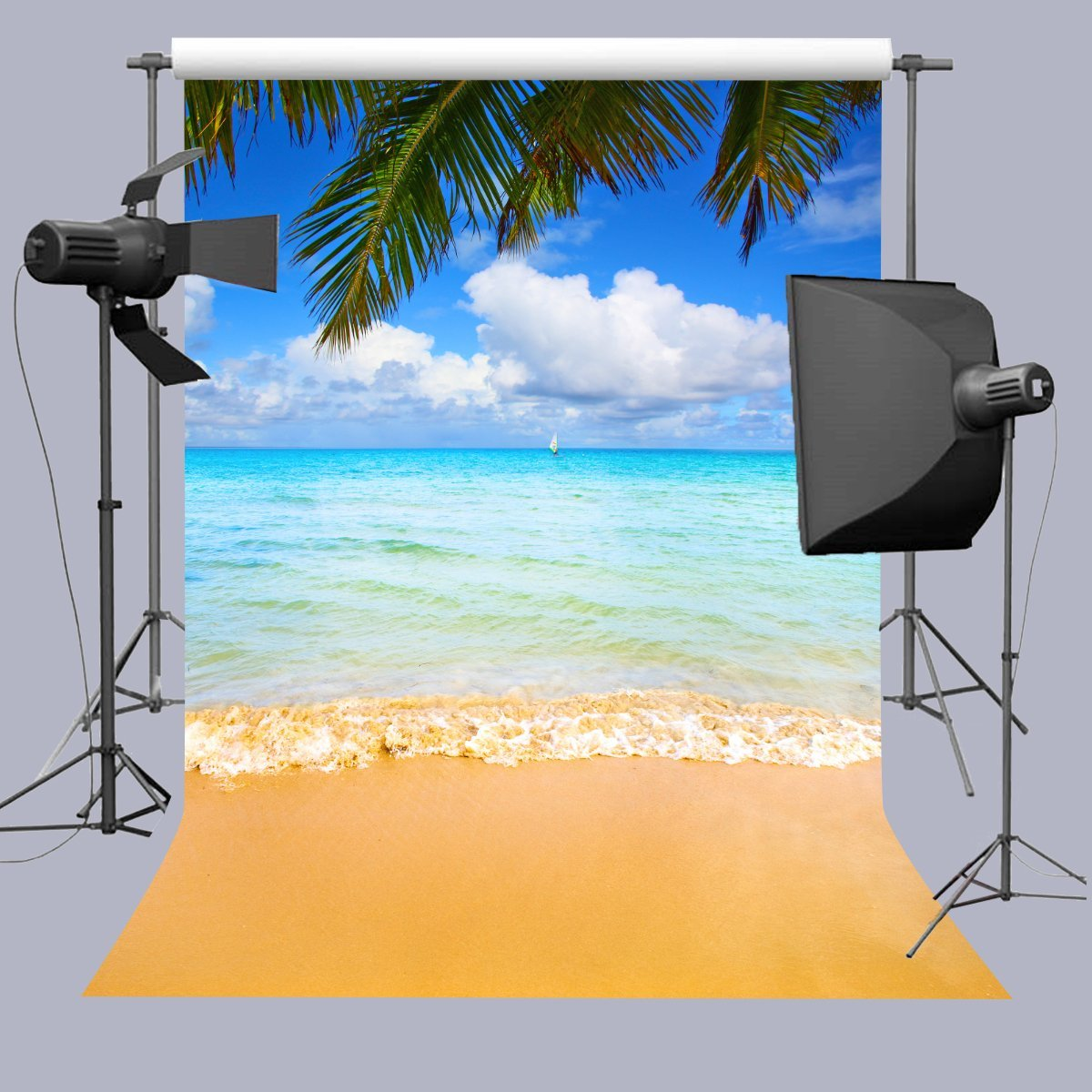 Blue Sky White Clouds Sea Beach Waves Palms Tree photo backdrop polyester or Vinyl cloth Computer print wall background