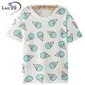 Ice Cream Print Camiseta 2016 Nueva camiseta de La Manera de La Vendimia Estilo Harajuku Mujeres de La Camiseta del verano Ropa Emoji Divertido Tops camisetas