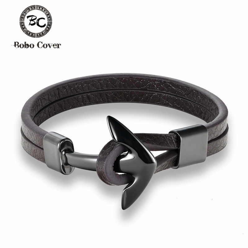 Bobo cover High Quality Stainless Steel Leather Bracelet Wristband Anchor Bracelet Punk Men Jewelry Accessories Pulseras