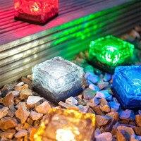 Trecaan 2pcs Lot Glass Brick Rock Solar Underground Buried Lamp Outdoor Garden Pathway Floor Deck Lights