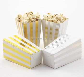 ipalmay 200pcs  Gold Silver Candy Popcorn Boxes Sweet Party Favor Lolly Bags for Home Theatre/Movie/Christmas Wedding Decor