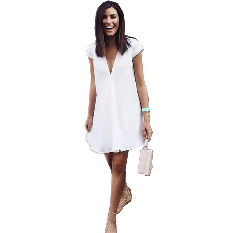 Womens Celeb Sexy Casual Long Tops V-neck T-shirt Dress Ladies Summer Love Mini Dress Size