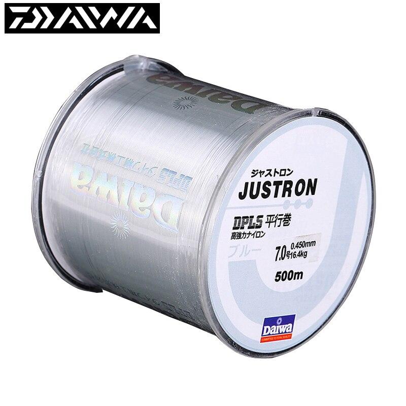 Daiwa linha de pesca de 500m e 100m, super forte, marca japonesa, nylon justron 2lbs-40lbs, 7 cores linha principal do monofilamento