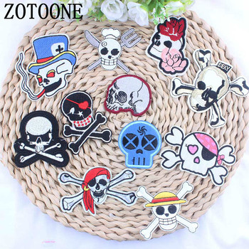 ZOTOONE 1PCS Cool Skull Skeleton Patch Iron On Cheap Embroidered Patches For Kids Clothing Smoking Pirates Appliqued Stickers image